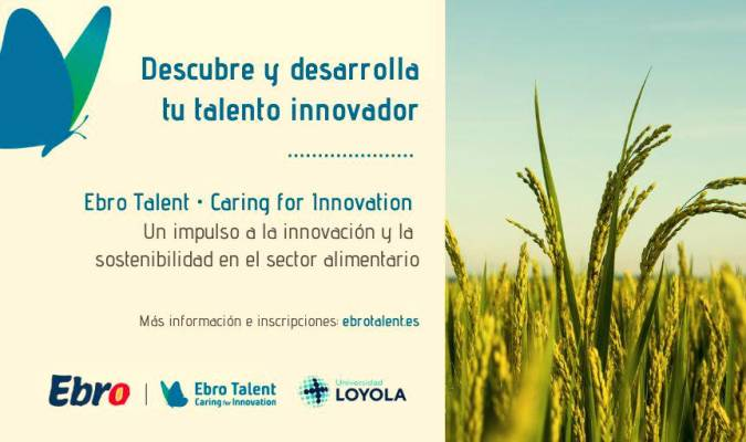 Cartel del programa 'Ebro Talent Caring for Innovation' de Ebro Foods y la Universidad Loyola de Sevilla. / Loyola Initiatives