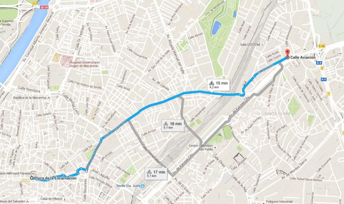 Carril Bici Sevilla Mapa.Ya Puedes Calcular Trayectos En Bici Por Sevilla En Google Maps