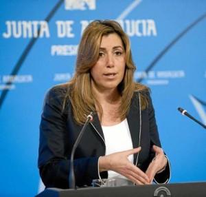 La consejera de la Presidencia, Susana Díaz, ayer en rueda de prensa tras el Consejo de Gobierno.