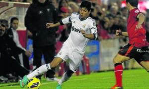 Juanfran con la camiseta del Real Madrid.