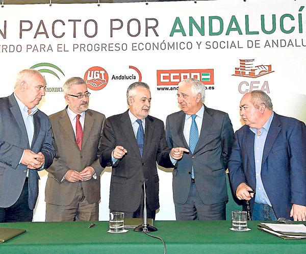 Los firmantes del Pacto andaluz por el Empleo el pasado 21 de marzo, durante la rúbrica.