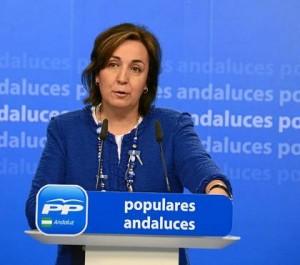 La vicesecretaria de Organización del PP-A, Ana Corredera, compareció ayer en rueda de prensa.