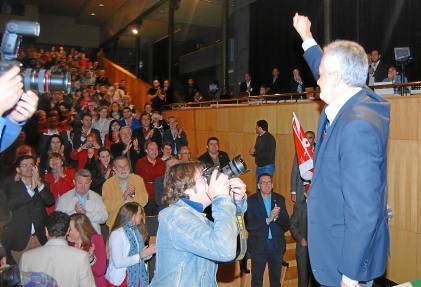 El presidente de la Junta y secretario general del PSOE-A, José Antonio Griñán, ayer, en Baena.