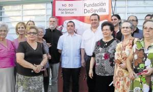Antonio Rodrigo Torrijos, Carlos Vázquez y Jon Ander Sánchez, en un acto de la Fundación DeSevilla.