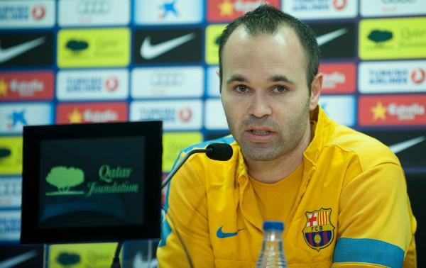Andrés Iniesta, durante su rueda de prensa (Francesc Adelantado)