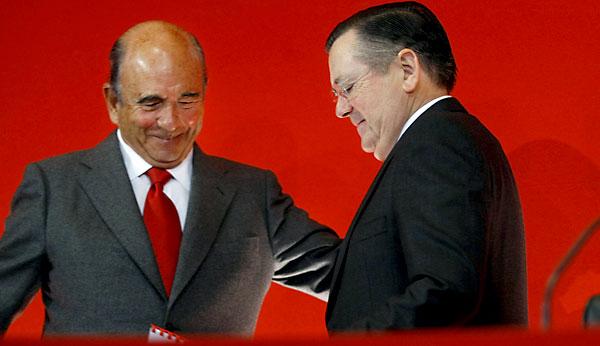 Emilio Botín y Alfredo Sáenz, en la presentación de los resultados del banco en enero pasado.