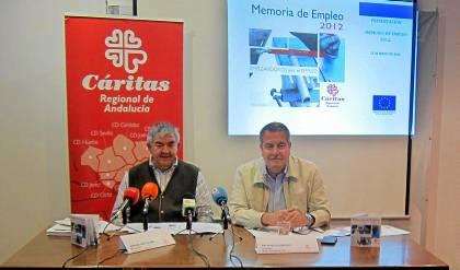 El presidente de Cáritas Andalucía, Anselmo Ruíz, y Francisco Domouso, de la diócesis de Jerez.