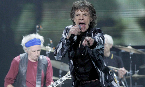 "Jagger and Richards of British band The Rolling Stones perform during the opening night of their ""50 & Counting"" worldwide tour at Staples Center in Los Angeles"