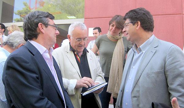 Centella, el coordinador general de IU, Cayo Lara, la consejera Cortés, y el vicepresidente Valderas.