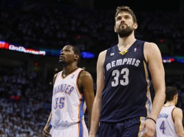 Oklahoma City Thunder forward Kevin Durant and Memphis Grizzlies center Marc Gasol of Spain, are shown during a break in the action in the second half of Game 5 of their NBA Western Conference semi-final playoffs in Oklahoma City.
