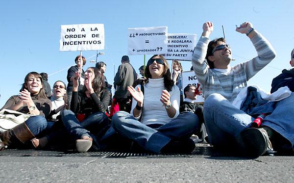 Protesta de profesores contra el Plan de Calidad, en 2008, el primer año de vigencia.