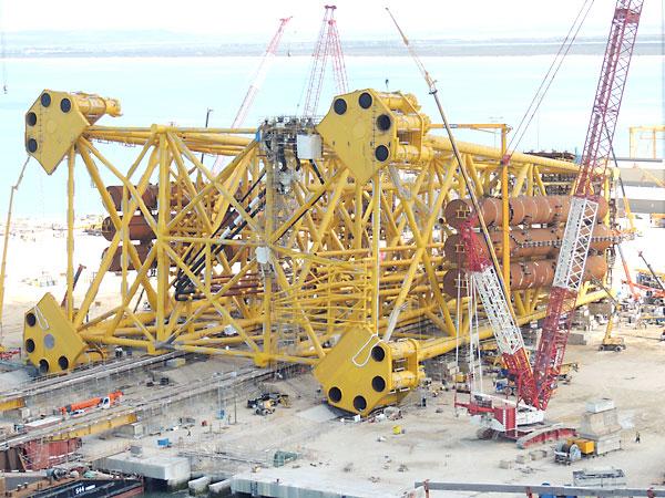 En la imagen, tanques de flotación de la plataforma petrolífera Eldfisk.