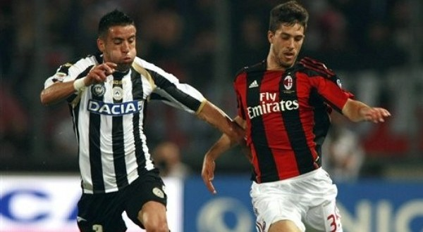 Dídac, en un partido con el Milan.