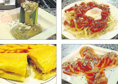 Calabacines rellenos, chanquetes fritos, serranito y tomate con melva.