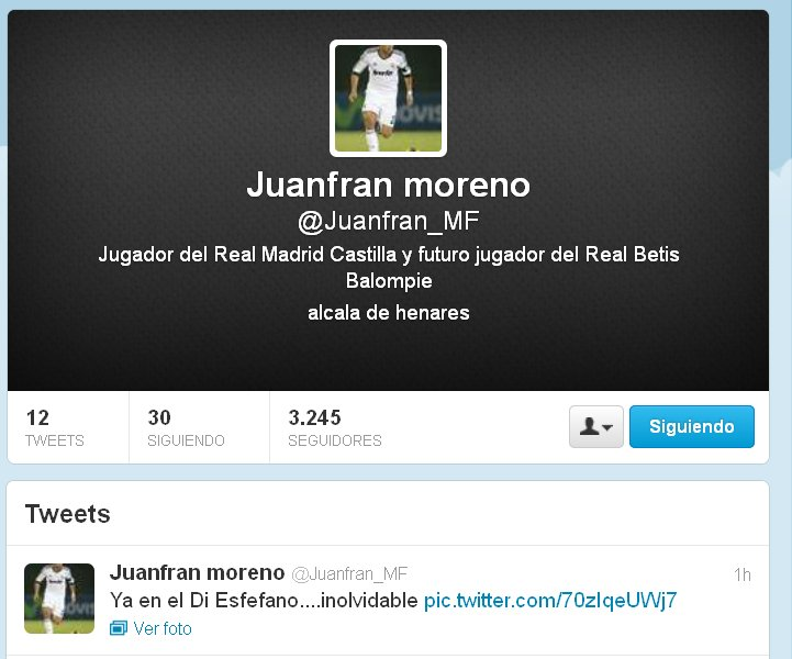 Así se define Juanfran en su cuenta de twitter.