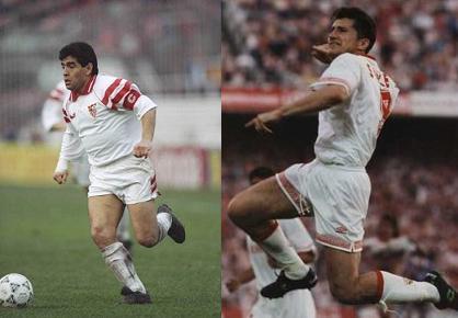 Maradona y Suker, sevillistas.