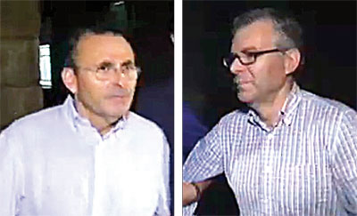 El gerente de Fitonovo (izq.) y Castaño (dcha.), en imágenes de Canal Sur de la madrugada del jueves.