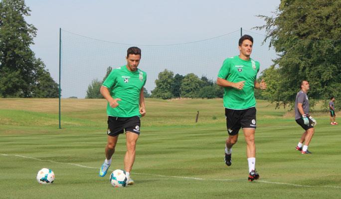 Rubén Castro y Juan Carlos, entrenándose (Real Betis).