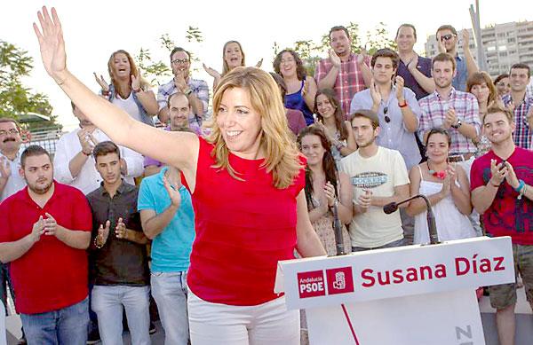 La consejera de Presidencia, Susana Díaz , este miércoles en Sevilla tras haber sido la única de los aspirantes a la carrera de las primarias para elegir al candidato del PSOE a la Presidencia de la Junta que ha conseguido los avales. EFE/Julio Muñoz
