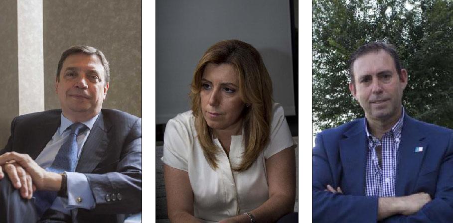 Los candidatos principales, el consejero de Agricultura, Luis Planas, la de Presidencia, Susana Díaz, y el alcalde José Antonio Rodríguez. (J. M. Paisano/Manuel R.R. Atese)