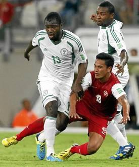 Fegor Ogude, con Nigeria en la Copa Confederaciones.