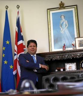 Gibraltar's Chief Minister Fabian Picardo poses for a photo after an interview with Reuters at his office at Convent Palace in Gibraltar
