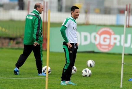 Rubén Castro y Pepe Mel, en un entrenamiento / Marcamedia