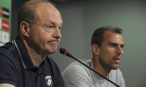 Pepe Mel, en la rueda de prensa previa al Betis-Jablonec.
