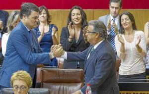 El líder del PP-A, Juan Ignacio Zoido, y el portavoz, Carlos Rojas.