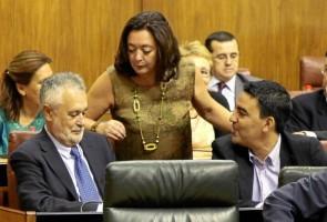 Griñán, Jiménez y Moreno, ayer en el Parlamento