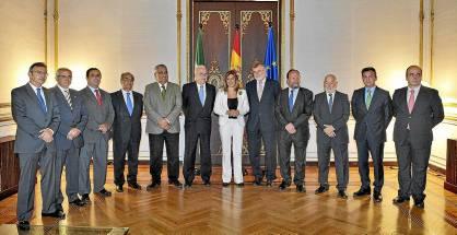La presidenta Susana Díaz recibió ayer a los rectores de las universidades públicas andaluzas.