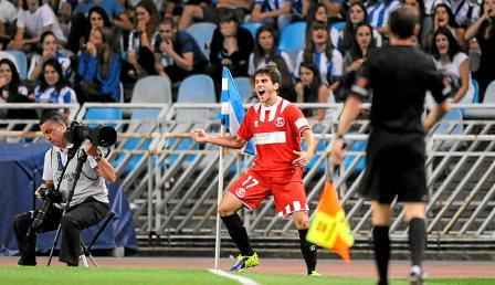 Jairo, celebrando el gol que marcó en Anoeta. (Marcamedia).