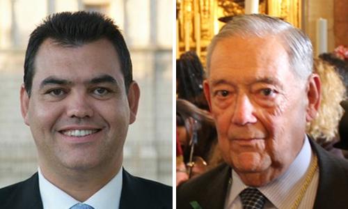 Agustín Bello-Conde y Manuel García, actual hermano mayor de la Macarena.