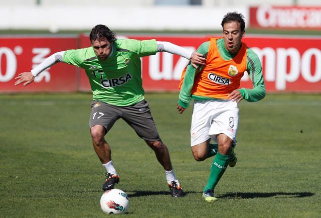 Chica y Matilla, en un entrenamiento de la 2011-12 / Ramón Navarro (Marcamedia)