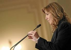La presidenta andaluza, durante su conferencia en Madrid. / EFE