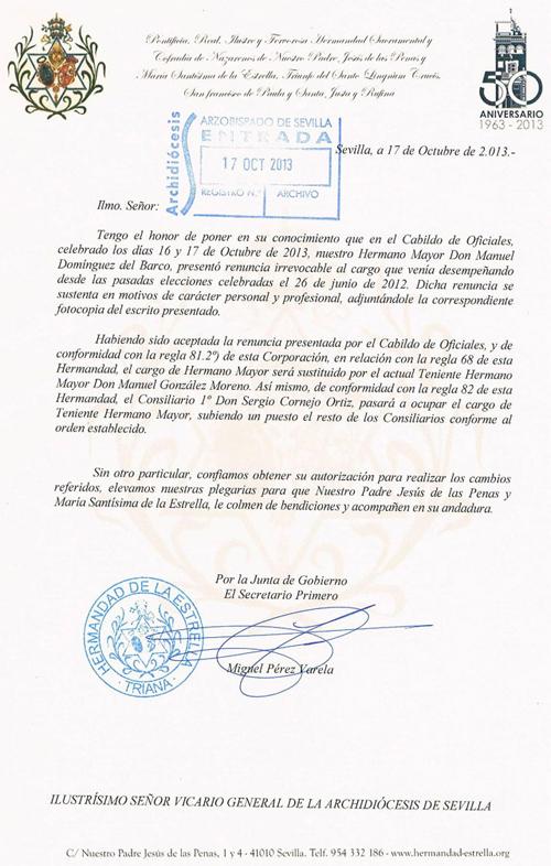 carta al arzobispado