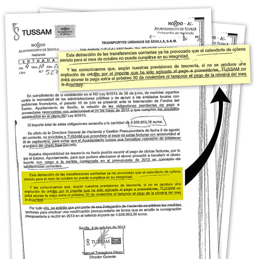 Carta remitida por el director gerente de Tussam, Manuel Torreglosa, a la delegación de Hacienda del Ayuntamiento de Sevilla, dirigida por Asunción Fley