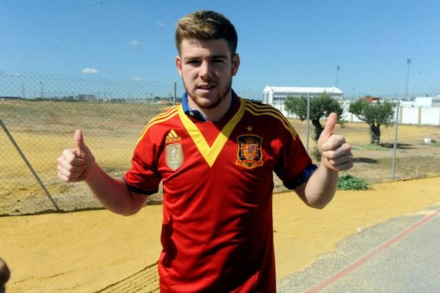 Moreno, ayer con la camiseta de la selección española. (Marcamedia)
