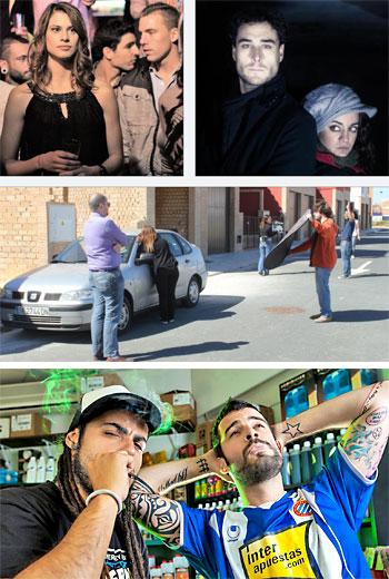Fotogramas: Arriba a la izquierda, imagen de Malviviendo, al lado, detalle de la webserie The Becquer's Guide. Después, una instantánea tomada en el rodaje de la nueva Capitán Nazareno. Junto a estas líneas, los protagonistas de la webserie de dibujos animados Niña repelente. Debajo, los dos protagonistas masculinos de Malviviendo.