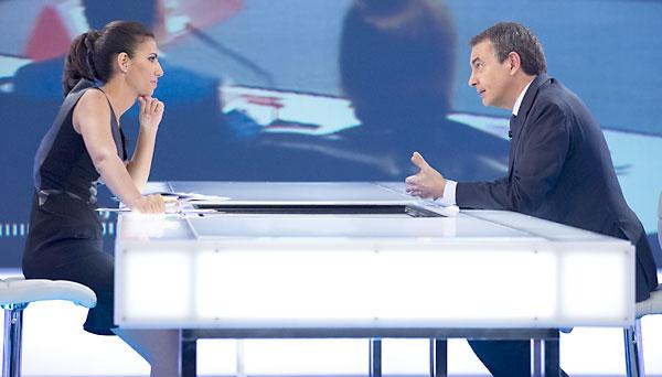 Rodríguez Zapatero junto a Ana Pastor en la entrevista de La Sexta.