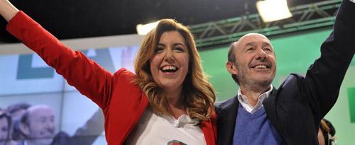 Susana Díaz arropada por Alfredo Pérez Rubalcaba pone el punto y final al Congreso Estraordinario del PSOE-A en Granada.