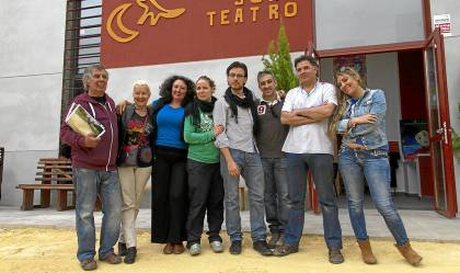 El equipo de Viento Sur Teatro, durante la presentación de la nueva sala, el mes de mayo pasado.