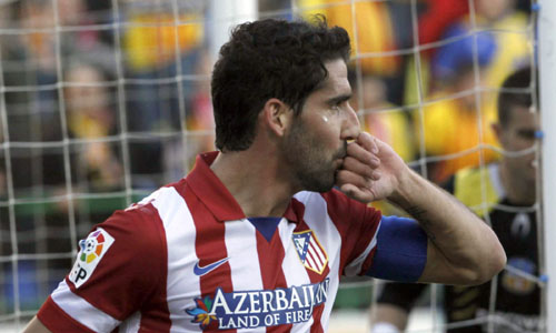 l centrocampista del Atlético de Madrid Raúl García celebra el gol que ha marcado al Sant Andreu. / EFE