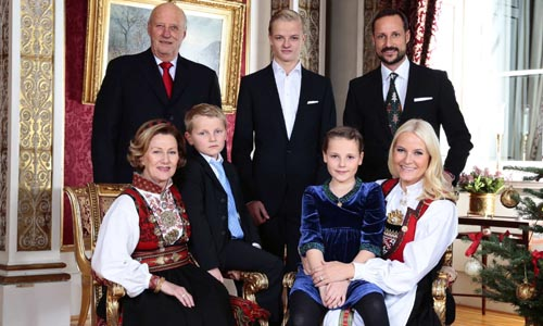 Norway's royal family pose during their family Christmas photo session at the Royal Castle in Oslo