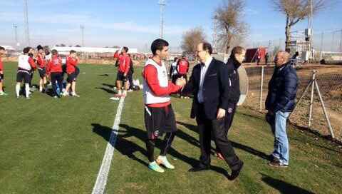 José Castro, en el entrenamiento de este martes. / Sevilla FC