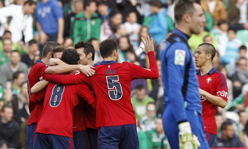 Los jugadores de Osasuna celebran el 0-1 con el partido recién empezado / J.M. Vidal (EFE)