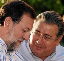 El presidente, Mariano Rajoy, y el líder del PP-A, Juan Ignacio Zoido, en un mitin