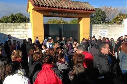 Alrededor de un centenar de personas se manifestaron ayer en la puerta de la SPAPS de Mairena. /