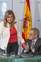 La presidenta de la Junta, Susana Díaz, y el presidente de Telefónica, César Alierta.