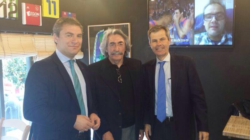 Cayetano García de la Borbolla, Emilio Soto y Adolfo Cuéllar.